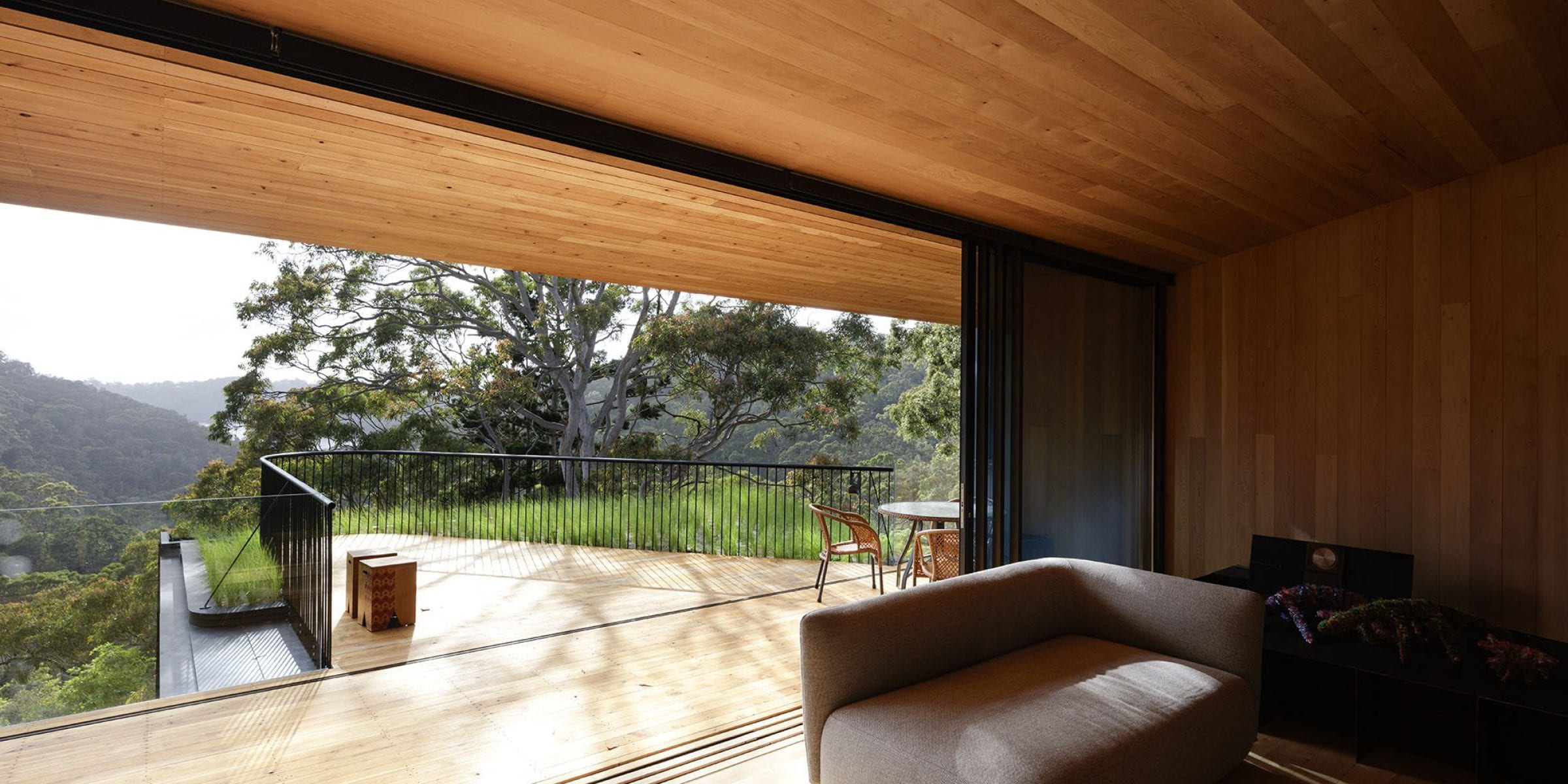 The living room blurs the lines between outdoors and inside